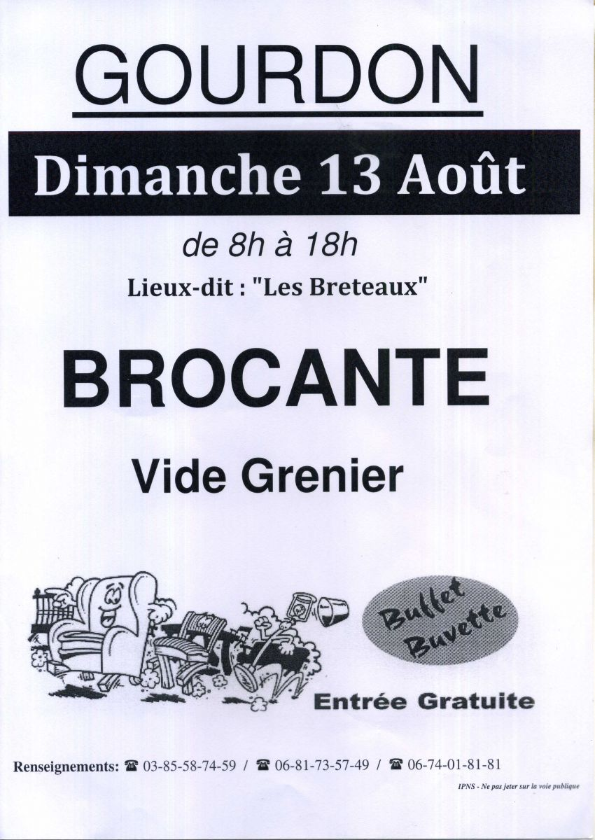 brocante vide grenier gourdon 13 aout 2017 f d ration d partementale des chasseurs de la. Black Bedroom Furniture Sets. Home Design Ideas